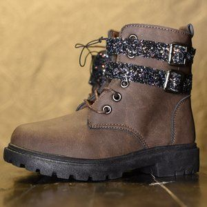 Double Buckle Glitter Girl Combat Boot